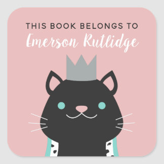 Royal Cat | Pink This Book Belongs To Square Sticker
