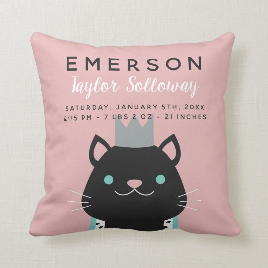 Royal Cat with Crown Birth Stats Cushion
