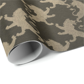 Royal Chic Golden Lions Club Black Metallic Wrapping Paper