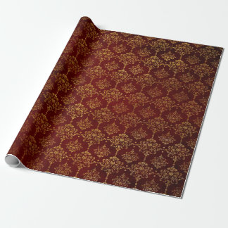 Royal Chic Golden Red Velvet Damask Red Carpet Wrapping Paper