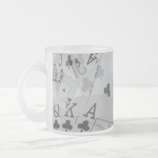 Royal Club Flush Poker Cards Pattern, Frosted Glass Coffee Mug