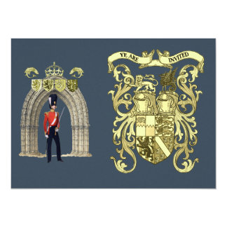 Royal Coat Of Arms And Victorian Guard 14 Cm X 19 Cm Invitation Card