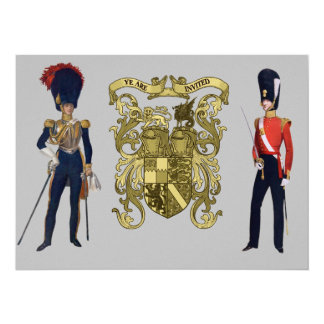 """Royal Coat of Arms and Victorian Guards 5.5"""" X 7.5"""" Invitation Card"""