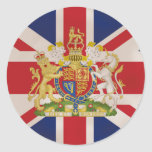 Royal Crest on the Union Jack Flag Round Sticker