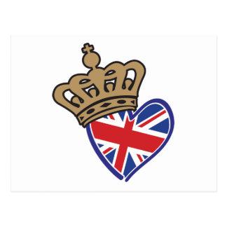 Royal Crowm UK Heart Flag Postcards