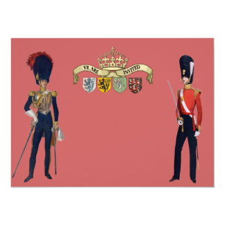 """Royal Crown And Victorian Guards 5.5"""" X 7.5"""" Invitation Card"""