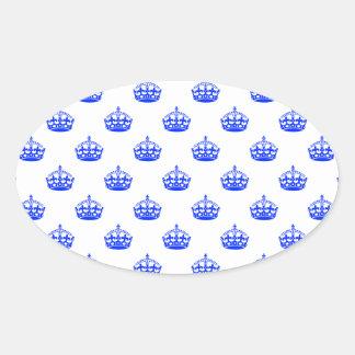 Royal Crown Blue Oval Sticker
