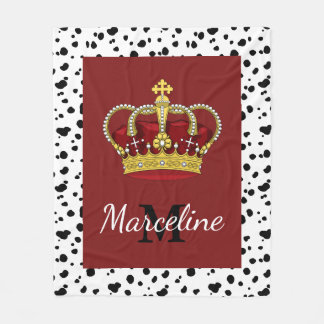 Royal Crown Dalmatian Spots & Name Fleece Blanket