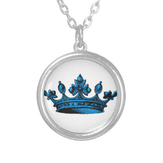 Royal Crown in light blue Prince, Princess, King, Necklace