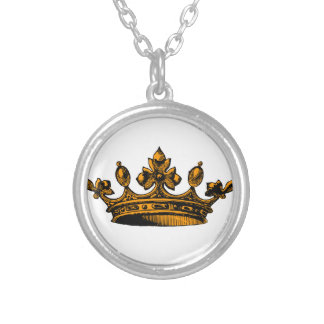 Royal Crown in orange goldish Prince, Princess Personalized Necklace