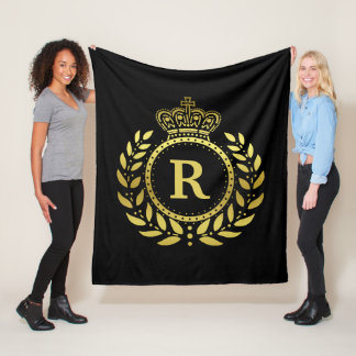 Royal Crown Laurel Wreath Black Gold Monogrammed Fleece Blanket