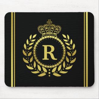 Royal Crown Laurel Wreath Black Gold Monogrammed Mouse Pad