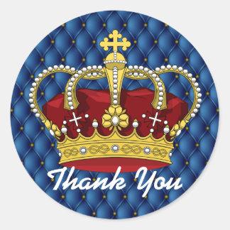 Royal Crown & Royal Blue Pin Tucks Baby Shower Classic Round Sticker