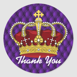 Royal Crown & Royal Purple Pin Tucks Baby Shower Classic Round Sticker