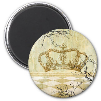 Royal Crown with Branches 6 Cm Round Magnet