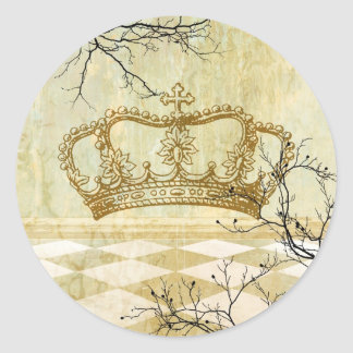 Royal Crown with Branches Round Sticker