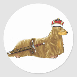 Royal Dachshund Doxin with Crown and Sword Sticker