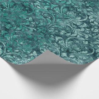 Royal Damask Crushed Velvet Aquatic Tiffany Blue Wrapping Paper