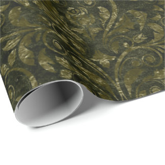 Royal Damask Crushed Velvet Woodland  Cali Green D Wrapping Paper