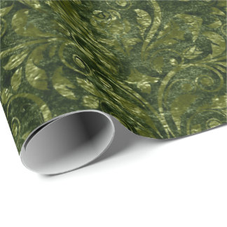 Royal Damask Crushed Velvet Woodland Deep Green Wrapping Paper