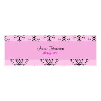 Royal Damask, Ornaments, Swirls - Pink Black Business Card
