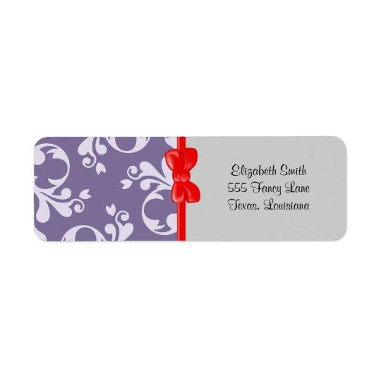 Royal Damask, Ornaments, Swirls - Purple White Return Address Label
