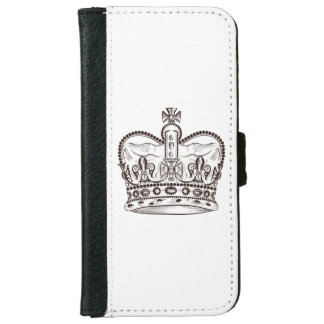 Royal design with crown in vintage style iPhone 6 wallet case