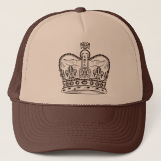 Royal design with crown in vintage style trucker hat