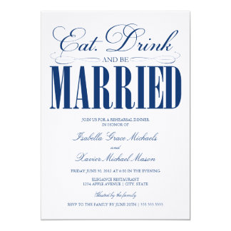 Royal Eat, Drink & Be Married   Rehearsal Dinner Card