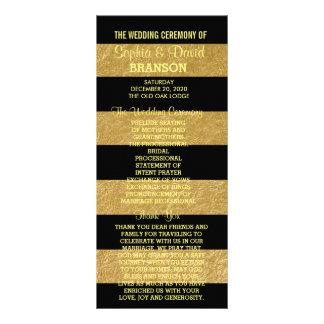 Royal, elegant gold leaf & black Wedding Program Rack Card
