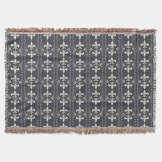 Royal fleur-de-lis navy pattern. throw blanket