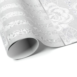 Royal Floral Roses Silver White Lace Stripes