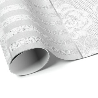 Royal Floral Roses Silver White Lace Stripes Linen