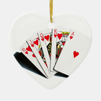 Royal Flush Hearts Ceramic Ornament