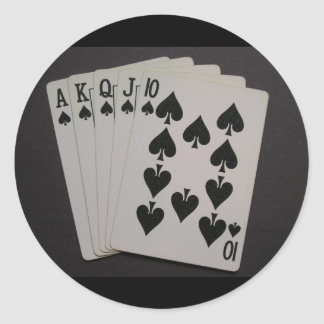 Royal Flush Round Stickers