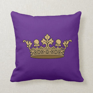 royal gold crown on deep royal purple background throw cushion