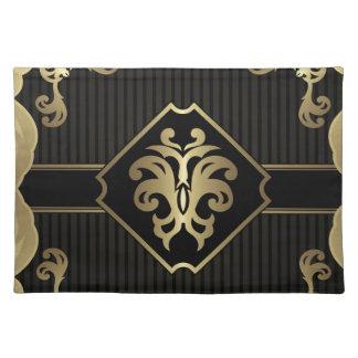 royal,gold,fleur de lis,pattern,on black,elegant, placemat