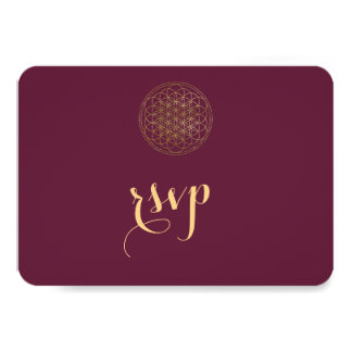 Royal Gold Flower of Life Sacred Geometry Wedding Card