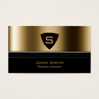 Royal Gold Shield Masonry contractor Business Card