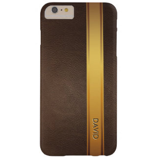 Royal Gold Stripe Custom Name Leather Background Barely There iPhone 6 Plus Case