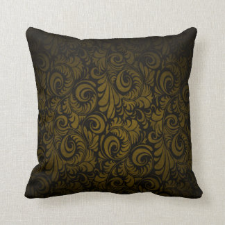 Royal Gold Swagger Floral Print Throw Pillow