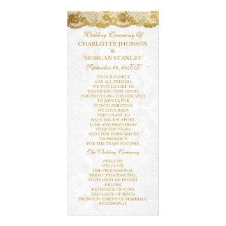 Royal Golden White Lace Wedding Program Rack Card