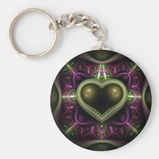 Royal Heart Fractal Basic Round Button Key Ring