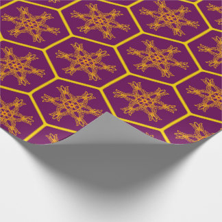 Royal Honeycomb drawing pattern with flower Wrapping Paper