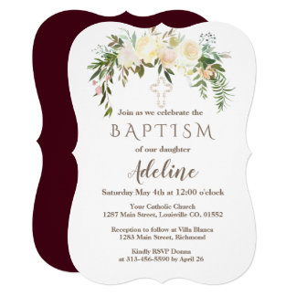 Royal Ivory Floral Burgundy Baptism Invite