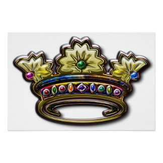 Royal jeweled crown Print