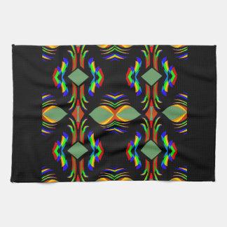 Royal Kitchen Towel- Rainbow Colors on-Black/Teal Tea Towel