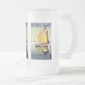 "Royal Mail ""Atlantis"" Autumn Cruises Frosted Glass Beer Mug"