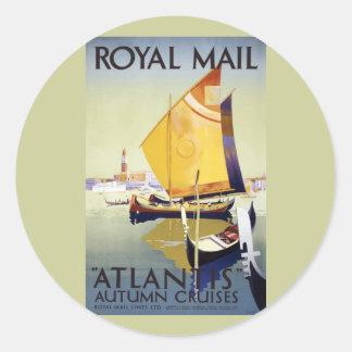 """Royal Mail """"Atlantis"""" Autumn Cruises Round Sticker"""