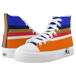 Royal Midnight Copper Red White and Orange Hi-Tops
